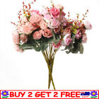 21 Heads Rose Bunch Artificial Flower Home Decor Bridal Bouquet Floral Tt Au