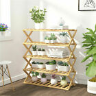 Multi Tier Bamboo Plant Stand Flower Pot Holder Shelf Rack Display Indoor Outdoo