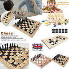 FOLDING+WOODEN+CHESS+SET+FAMILY+CHECKERS+GAMES+Magnetic+Pieces+Wood+Board+New