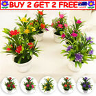 Artificial Potted Flowers Fake False Plants Outdoor Garden Home In Pot Decor Tau