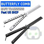 Butterfly Balisong Trainer Training COMB Knife Tool Metal Practice Black Silver