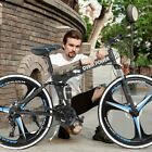 26in Folding Mountain Bike 21 Speed Bicycle Adult Full Suspension MTB Bike US