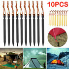 10pcs Titanium Alloy Tent Nail Pegs Stakes With Rope Camping Hiking Outdoor Kh