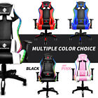 RGB Gaming Chair Recliner LED Racing Chair Electric Massage Lumbar Support UPS
