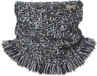 Barts Loop Neck Warmer Knit Scarf Blau Essence Col Fringes Chunky Knitted