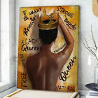 Black Queen Vintage Poster, Strong Melanin Black Woman Wall Art