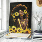 Beautiful Brown Girl with Sunflowers Poster, African Women Wall Art