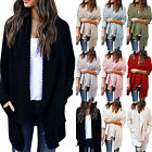 Women Lapel Waterfall Cardigans Sweater Shawl Coats Knitted Casual Slouch Jacket