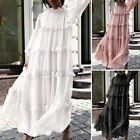 Womens Pleated Shirt Dress Ruffled Mesh Long Maxi Sundress Party Club Prom Dress