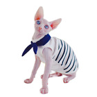 Sphynx Cat Clothes Hairless Cat Cotton Bow Tie T-Shirts, Pullover Kitten Shirts