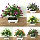 1x Fake Artificial Potted Rose Flowers Plants In Pot Outdoor Home Garden Decor