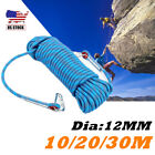 10/20/30M Outdoor Static Climbing Rope Safety Rappelling Rope Escape+Carabiners
