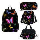 Kids Colorful Butterfly Backpack Insulated Lunchbag Sling Bag Pen Case Lot