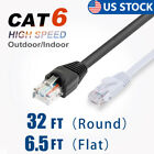 CAT 6 CAT6 Cable Round/Flat Ethernet Internet Network LAN RJ45 Indoor/Outdoor