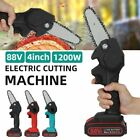"""Mini Chainsaw 4"""" 88V One-handed Electric Cutting Machine Rechargeable Battery"""