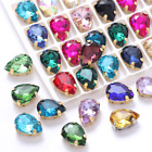 Teardrop Colorful Glass Sew On Rhinestones With Gold Claw Handicrafts sew on Sto