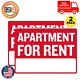 """2 Pack - Apartment For Rent Sign, 9"""" X 12"""", Durable Plastic Weatherproof photo"""