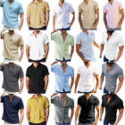 Men Solid Short Sleeve Loose T-shirts Summer Button Casual Basic Tee Blouse Top