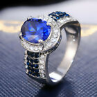 Oval Cut Blue Sapphire Jewelry Gifts Creative 925 Silver Rings For Women Sz 6-10