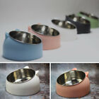 Cat Feed Bowl Raised Pet Food Stand Tilted Elevated Stainless Steel Pet Feeder