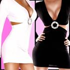 NEU★SEXY HOT langarm Minikleid  DRESS mit STRASS misS ★