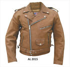 Men's Brown Classic Leather Biker Motorcycle Jacket Zip Out Lining Air Vents