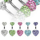 Surgical Stainless Steel Pave Crystal Heart Navel Ring