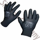 12 Pairs Of New PU Coated Work Gloves Sizes 8 - 11