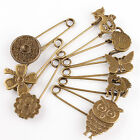 Hot! Bronze Tone Safety Pins Brooches 8 Style FREE SHIP