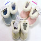 Baby Fur Trim Boots WINTER WARM Bootees Pink or Blue or Cream 6mths to 15mths