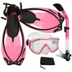 Panoramic Snorkeling Diving Dry Snorkel Silicone Mask Fins Flippers Bag Gear Set