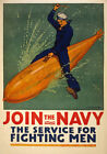 W54 Vintage WWI Join The Navy US  War Poster Print WW1 - A1 A2 A3