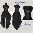 Corset Wedding Dress Gothic Black Halloween Custom Made US Size 20-26 1480