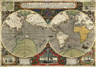 MP4 Vintage 1595 World Map Sir Francis Drake's Voyage Poster Re-Print  A1 A2 A3