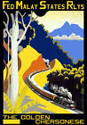 TT76 Vintage Malay Golden Chersonese Malaysia Railway Travel Poster - A3/A2
