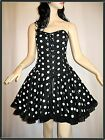 Polka Dot Corset Dress Goth EMO Burlesque 50's OBSIDIAN SALE