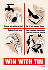 Vintage WWII Win With Tin Recycling War Effort Poster Print WW2 A2/A3 3W1
