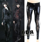 FreeShip PUNK VISUAL KEI BLACK STUB SLIM ZIP UP K130 BONDAGE PANTS S-2XL