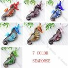 7 Color/ 1pc Murano Lampwork Glass Seahorse Inlay Flower Pendant Bead Xmas Gift
