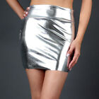 Women's Shiny Metallic Liquid Latex Stretch Mini Skirt Clubwear New sz S/M/L