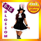 F50 Ladies Mad Hatter White Rabbit Bunny Alice In Wonderland Fancy Dress Costume