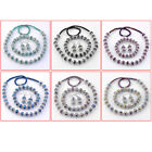 6 Colors Faceted Crystal Glass Round Flower Beads Necklace Bracelet Earring Set