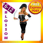 F7 Ladies Treasure Pirate Caribbean Fancy Dress Up Party Costume Outfit + Hat