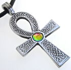 PEWTER Ankh Egyptian Cross SWAROVSKI Rainbow CRYSTAL LGBT Gay Pride PENDANT Anhk
