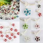 Austria Crystal Plum Blossom Flower Dangle European Charm Big Hole Beads Finding