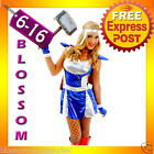 F84 Ladies Hero Thor Girl Marvel Superhero Fancy Dress Halloween Costume & Cape