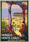 TW80 Vintage 1920 Monaco Monte-Carlo Travel Poster Roger Broders A1/A2/A3