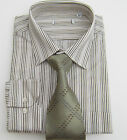 BHS mens stripe work shirt with free tie easy care collar size 14.5 -18 bnwt