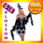 G25 1920s Charleston Flapper Chicago Gangster Fancy Dress Costume + Feather Boa