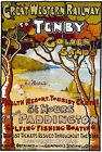 TR61 Vintage Tenby Golden Sands GWR Railway Travel Poster Print A4